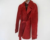 Red Suede Coat, VIntage 1970's Jacket, Vintage Suede Coat,  Hipster Girlfriend, Christmas Red, Autumn Outerware