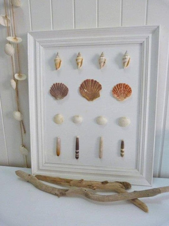 Etsy Coastal Wall Decor : Items similar to beach house shell framed coastal decor on