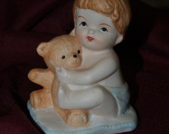 Vintage Ceramic Baby Boy in diaper and teddy bear, Retro Ceramic Cake Topper, Baby Shower Centerpiece Party Favor, Christening, Baptism