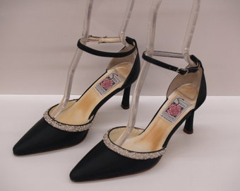 Sale black shoes Size 6, D'Orsay Black Heels, Closed Pointy Toe Pumps, Ankle Strap, Bling, Goth Wedding, Special Occasion Evening Shoes