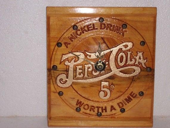 Peppsi Cola Wood Carved Clock