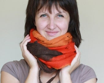 Women infinity scarf - Cobweb felted wool Circle scarf - necklace / red orange brown