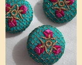 embroidered buttons handmade in teal silk with gold, rose and red thread, pack of three, size 29mm
