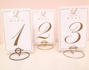 Wedding round shaped table number holders- Your choice of color (silver, gold, black) - SAMPLE LISTING