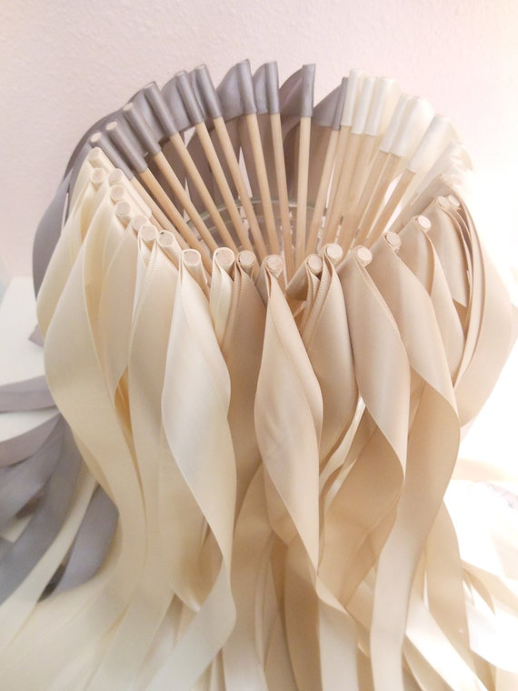 Wedding ribbon wands - Set of 50 single ribbon wands