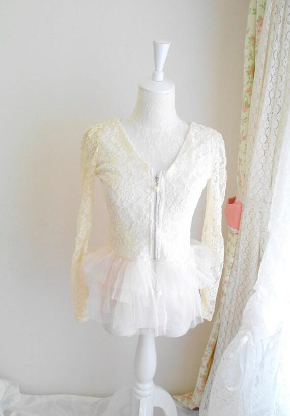 Romantic Ivory Lace Cropped Jacket blouse Ruffles layers tutu ballerina sheer sleeves beige cream zipper pearl
