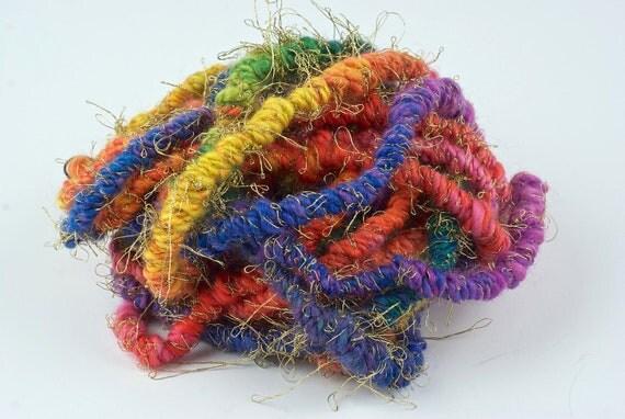 Handspun Art Yarn -  Entangled Rainbow Coils - by WoolWench