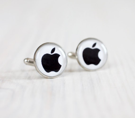 Men cufflinks - Black Apple Cuff links for him - Mac Black Apple Design