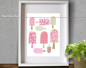 Ice Cream Lollipop Art Print Bedroom Kids Childrens Room Decor Interior Wall Printing Citrus Fruit Multicolor Dots Pattern Home Decor Design