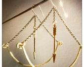 Brass Bow and Arrow Earrings // Hunteress