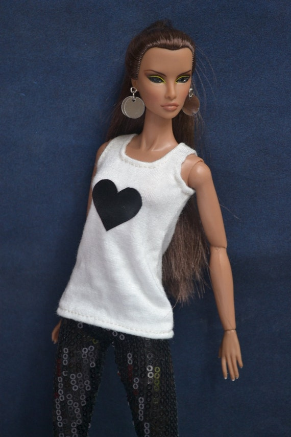 Sequined Leggings, White Top for Fashion Royalty Dolls