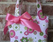 Light Pink and Green Floral Print with Sparkles and a Large Bow