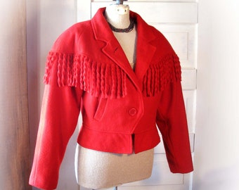 Women's Red Wool Blend Cropped Jacket with Fringe by ARTISTIC size 7 / 8