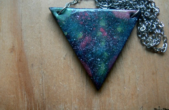 SALE WAS 25 polymer clay galaxy/celestial triangles pendant and post earrings - iridescent blue, red, green, yellow on black - white stars.