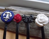 Anchor, Small Rose, Bow, and Large Rose Hair Pin