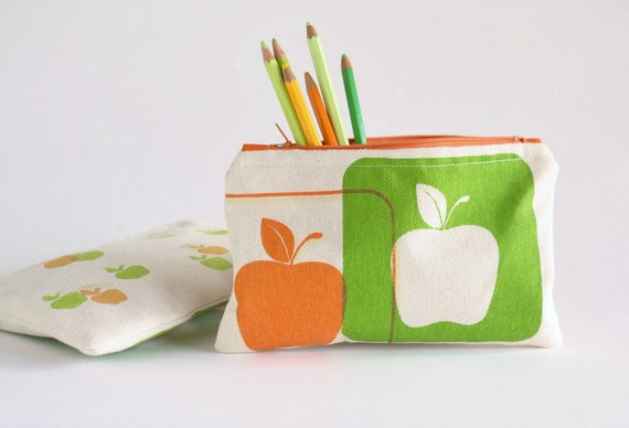 ZIPPER POUCH back to school pencil pouch with apples hand printed orange and green