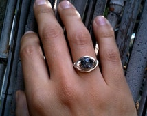 Cracked Glass Wire Ring in Silver or Gold