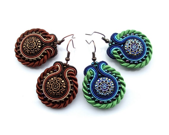 Soutache earrings - perfect gift for friends or sisters - shiny, unusual and eyecatchng Handmade Soutache Jewelry - Heart of Dragonfly 1 & 2