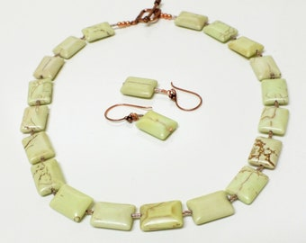 Necklace Set of Pale Pea Green Howlite Beads and Copper