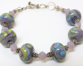 Beaded Bracelet of Beautiful Blue and Lavender and Yellow Green Lampwork Beads
