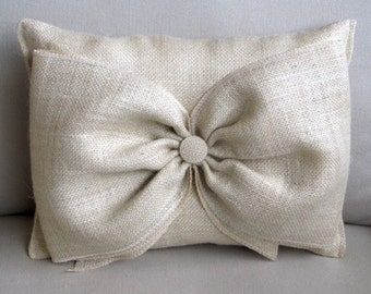 parchment Burlap Accent Pillow with giant burlap bow