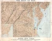 American Civil War 1861 - Antique 'Birds Eye View' Map Virginia Maryland Delaware & DC. Printable Map. Instant digital download..