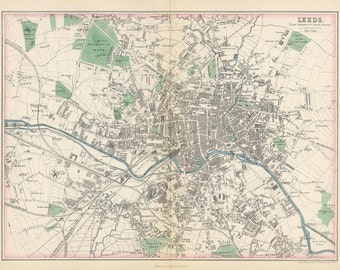 Leeds 1855. Antique City Map of Leeds, England by J.Bartholomew - MAP PRINT