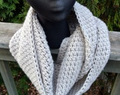 SALE Black Friday/Cyber Monday- Infinity Cowl, Scarf in Linen/Natural, Double Wrap, Extra Long, Crochet - KnitMomWi