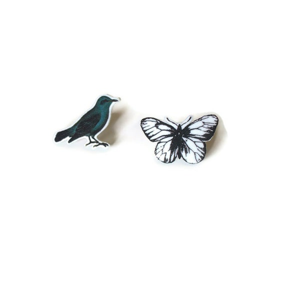 Handmade original Vintage images post earrings bird butterfy shrink plastic