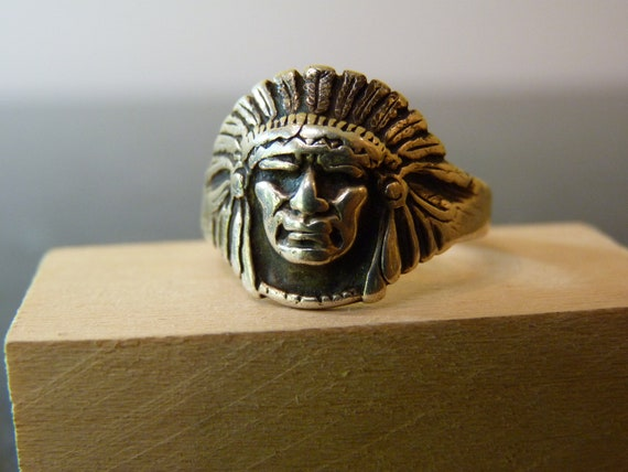 Vintage Silver Native American Indian Chief Head Ring