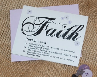 Greeting Card - Definition of Faith with Rhinestones