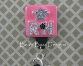 QUEEN RN  - Registered Nurse,Retractable Id Badge Reel,ID Badge Holder,Designer Badges,Nurse Jewelry,Teacher,Nurse gift