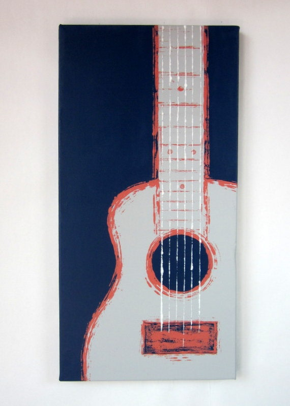 """Six String in Coral - 12"""" x 24"""" Handpainted on Canvas"""