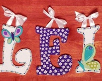 Butterfly Themed Set of 5 Hand Painted Letters
