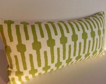 Annie Selke Home 10X20 Geometric Pillow Cover Home Decor Fabric-Green-Off White-Throw Pillow-Toss Pillow-Lumbar Pillow