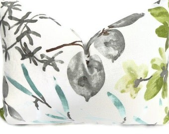 Floral Braemore Decorative Pillow Cover 14X20-Home Decor Fabric-Lumbar Pillow-Living Room Pillow-Grey-Turquoise-Green