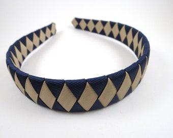 Navy Blue Headband - Tan Headband - Blue and Tan Headband - School Headband - Braided Ribbon Woven Headband - Child Teenager Adult Headband