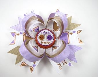 Peanut Butter and Jelly Hair Bow - Purple and Tan Hair Bow - Best Friends Hair Clip - PB & J Hair Bow - Lavender Hair Bow