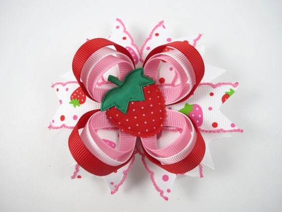 Strawberry Hair Bow - Red Hair Bow - Pink Hair Clip - Summer Hair Bow - Pink and Red Hair Bow - Strawberry