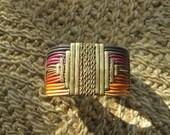 Vintage Tribal Cuff Bracelet - Southwestern / Atzec - Brass Jewelry