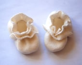 Fleece Baby Booties - Infant Stretchy Crib Shoes - Ivory Cream - Girl or Boy - Baptism or Wedding Outfit