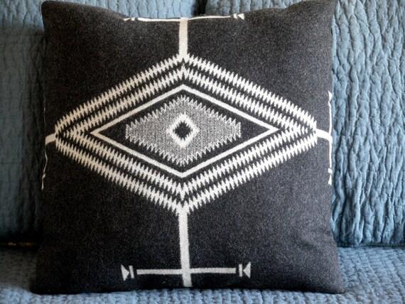 "Pendleton pillow, Navajo inspired  XL pillow, ""Los Ojos"",  classic black and cream 24 x 24"