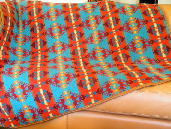 Pendleton blanket, Native American motif , Turquoise, Tangerine, brown,  66 x 54