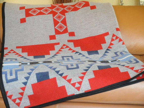 Navajo blanket, Pendleton wool,  graphic geometrics, dorm room, picnic, cabin decor, grey, red, blue 67 x 56