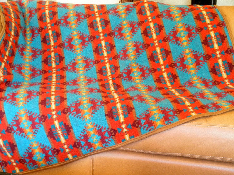 Pendleton Blanket Native American Motif Turquoise