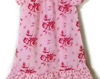 Pink Roses Dress, Last One, Size 3T, Girl Pink Peasant Dress, Toddler Peasant Dress, Floral Girl Dress, Peasant Dress, Roses Toddler Dress