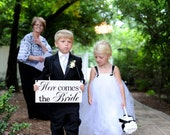 Here Comes the Bride...Just Married...they lived happily ever after... two sided sign, Ring Bearer, Flower Girl signage