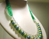 Light Blue and Green Glass Pearl Necklace on Dark Green Organza Ribbon approx 25cm long by JulieDeeleyJewellery on Etsy