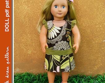 Morgan Doll Dress - PDF Pattern - Doll Size 18 inch, PDF Downloadable, Easy Pattern