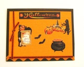 Halloween Card Vintage Style Cats Bats Scarecrow Cauldron Orange Black Ribbon